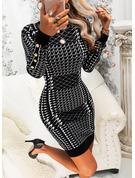 Print Bodycon Lange ærmer Mini Elegant Mode kjoler