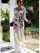 Květiny Tisk Do tvaru A Dlouhé rukávy Maxi Party Elegantní Skaterové Módní šaty