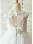 Forme Princesse Longueur genou Robes à Fleurs pour Filles - Satiné/Tulle/Dentelle Sans manches Col rond avec Trou noir