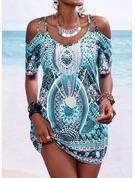 Print Skede 1/2 ærmer Mini Boho Casual Ferie Mode kjoler