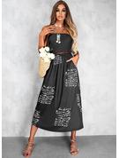印刷 文字 Aラインワンピース ノースリーブ マキシ カジュアル 休暇 スケーター ファッションドレス