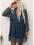 Print Shift Long Sleeves Mini Casual Tunic Dresses