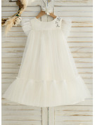 Áčkové Šaty Po kolena Flower Girl Dress - Satén/Tyl Bez rukávů Scoop Neck S Volán