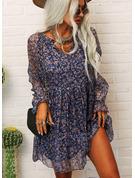 Цветочный Распечатать Прямые платья Длинные рукова Мини Повседневная китель Модные платья