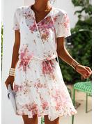 Floral Imprimeu Bir Çizgi Mâneci Scurte Mini gündelik Tatil Patenci Moda Elbiseler