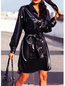 Solid Fodral Långa ärmar Mini Den lilla svarta Fritids Skjortklänningar Modeklänningar
