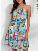 Floral Print A-line Sleeveless Mini Casual Vacation Type Dresses