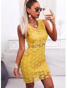 Lace Solid Bodycon Sleeveless Midi Casual Elegant Dresses