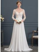 A-linjeformat V-ringning Court släp Chiffong Bröllopsklänning