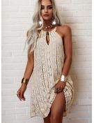 Encaje Sólido Vestidos sueltos Sin mangas Mini Casual Vestidos de moda