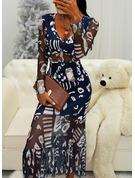 Nadruk Sukienka Trapezowa Długie rękawy Midi Elegancki Łyżwiaż Modne Suknie