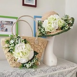 Bride Gifts - Eye-catching Silk Raffia Straw Tote Bag Straw Hat