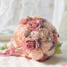 Jentete Rund Kunstige Blomster Brude Buketter (som selges i et enkelt stykke) -