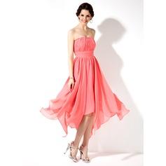 Empire Sweetheart Asymmetrical Chiffon Homecoming Dress With Ruffle Beading