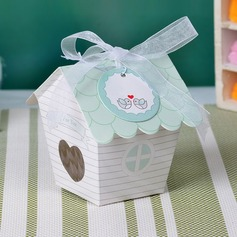 Cute House Shaped Pearl Paper Favor Boxes & Containers/Cupcake Boxes With Ribbons (Set of 12)