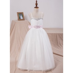 Ball Gown Floor-length Flower Girl Dress - Satin/Tulle Sleeveless Straps With Bow(s)/Rhinestone (010101885)