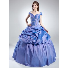 Ball-Gown Off-the-Shoulder Floor-Length Taffeta Quinceanera Dress With Ruffle Beading
