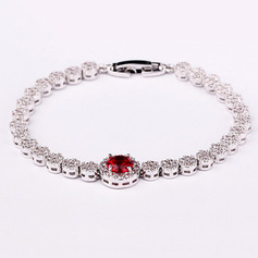 Ladies' Elegant Copper/Platinum Plated With Round Cubic Zirconia Bracelets For Bride/For Mother