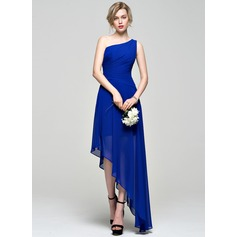 A-Line One-Shoulder Asymmetrical Chiffon Bridesmaid Dress With Ruffle