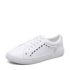 Frauen PU Flascher Absatz Flache Schuhe Geschlossene Zehe mit Zuschnüren Schuhe