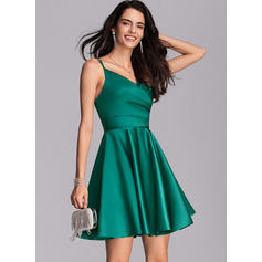 A-Line V-neck Short/Mini Satin Cocktail Dress With Ruffle Pockets (016216039)