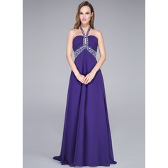 Empire Halter Sweep Train Chiffon Prom Dress With Beading Sequins