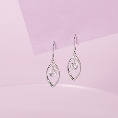 Señoras' Único 925 plata de ley con Diamante Cubic zirconia Pendientes Amigos/La dama de honor