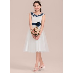 Forme Princesse Longueur genou Robes à Fleurs pour Filles - Satiné/Tulle Sans manches Col rond avec Fleur(s)
