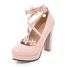 Mulheres Couro Salto robusto Bombas Plataforma Fechados com Aplicação Pérola Imitação sapatos