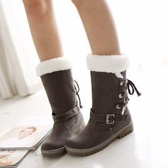 Mulheres Couro Salto baixo Fechados Botas Botas na panturrilha com Fivela Aplicação de renda sapatos
