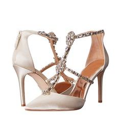 De mujer Satén Tacón stilettos Encaje Sandalias Beach Wedding Shoes con Rhinestone