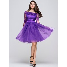 A-Linie/Princess-Linie Off-the-Schulter Knielang Organza Lace Ballkleid