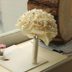 Refined Round Satin Bridal Bouquets -