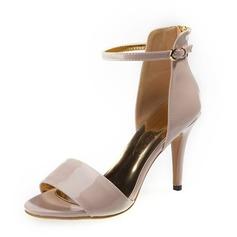 Лакированная кожа Высокий тонкий каблук Сандалии На каблуках Открытый мыс с пряжка обувь