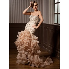 Trumpet/Mermaid Sweetheart Asymmetrical Organza Prom Dresses With Beading Cascading Ruffles (018021096)
