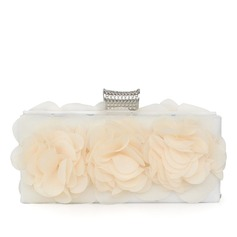 Elegant Chiffon With Flower Clutches