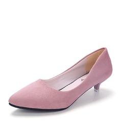 Frauen Veloursleder Kätzchen Absatz Geschlossene Zehe Schuhe