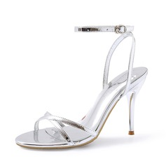 Mulheres Couro Brilhante Salto agulha Sandálias Sapatos abertos sapatos