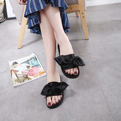 Women's Satin Leatherette Flat Heel Flats Slippers With Bowknot shoes
