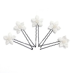 Gorgeous Alloy/Pearl/Satin Hairpins (Set of 5) (042024897)