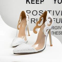 Frauen Kunstleder Stöckel Absatz Absatzschuhe Geschlossene Zehe mit Kristall Zweiteiliger Stoff Schuhe