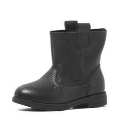Flicka Real Leather platt Heel rund tå Stövlar
