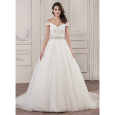 Ball-Gown Off-the-Shoulder Cathedral Train Tulle Lace Wedding Dress With Beading Sequins (002058784)
