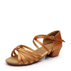 Women's Satin Heels Sandals Latin With Buckle Hollow-out Dance Shoes (053112442)