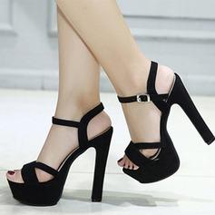 Femmes Suède Talon stiletto Sandales Escarpins Plateforme À bout ouvert Escarpins avec Boucle chaussures