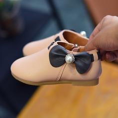 Flicka konstläder platt Heel rund tå Platta Skor / Fritidsskor med Bowknot Oäkta Pearl Zipper
