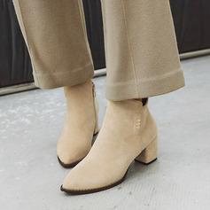 Femmes Suède Talon bottier Escarpins Bottes Bottines avec Paillette Zip chaussures