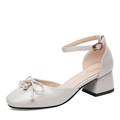 Women's Patent Leather Chunky Heel Closed Toe With Bowknot Crystal