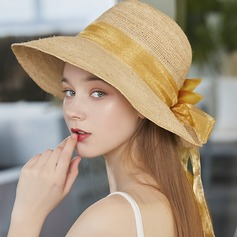 Dames Eenvoudig/Heetste Raffia Stro met strik Strand / Zon Hoeden/Theepartij hoeden