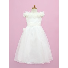 A-Line/Princess Floor-length Flower Girl Dress - Organza/Satin Sleeveless Off-the-Shoulder With Ruffles/Flower(s)/Bow(s) (010005338)